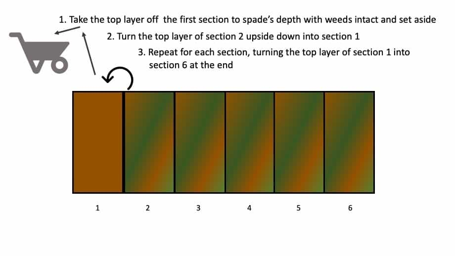 double-dig method of removing weeds